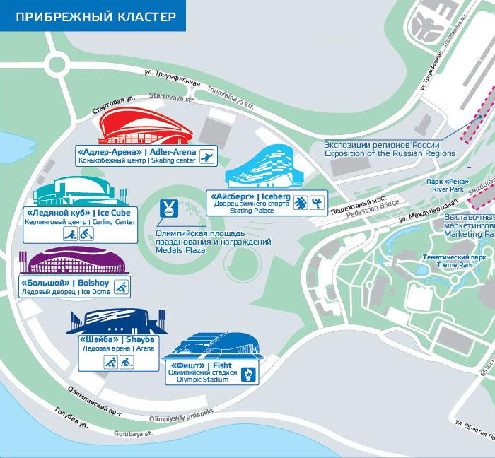Схема расположения Олимпийских